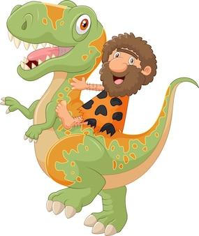 Cavernicolo di cartone animato cavalcando un dinosauro