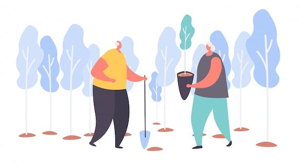 Personaggio dei cartoni animati il nonno e la nonna invecchiati piantano alberi con la pala in un giardino su bianco, illustrazione.