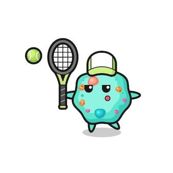 Personaggio dei cartoni animati di ameba come giocatore di tennis, design in stile carino per maglietta, adesivo, elemento logo