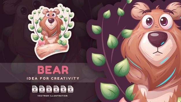 Orso infantile animale del personaggio dei cartoni animati - adesivo carino. vettore eps 10
