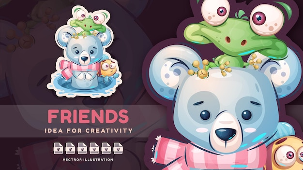 Amici animali del personaggio dei cartoni animati - adesivo carino. vettore eps 10