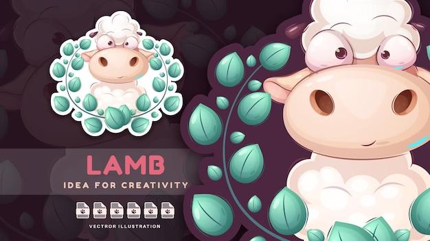 Personaggio dei cartoni animati animale orsacchiotto di agnello