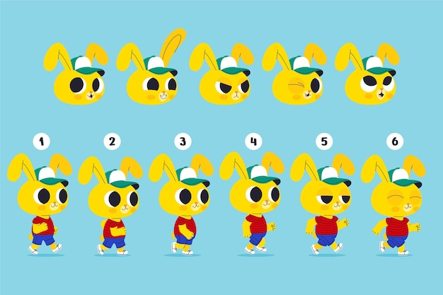 Set di fotogrammi di animazione personaggio dei cartoni animati