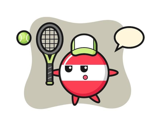 Personaggio dei cartoni animati del distintivo della bandiera austria come giocatore di tennis