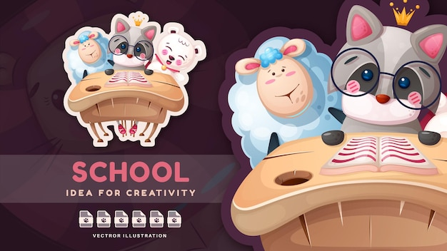 Adesivo divertente per il ritorno a scuola del personaggio dei cartoni animati