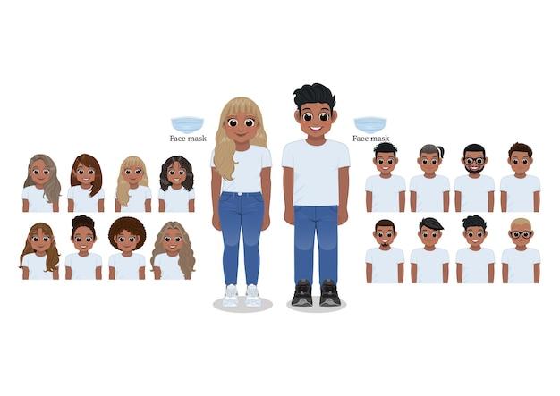 Personaggio dei cartoni animati nero ragazza e ragazzo in camicia bianca e blue jeans sorridenti. collezione di acconciature, illustrazione