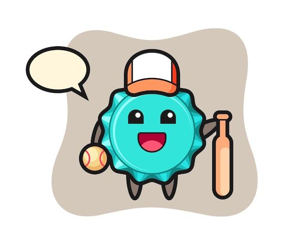Personaggio dei cartoni animati del tappo di bottiglia come giocatore di baseball