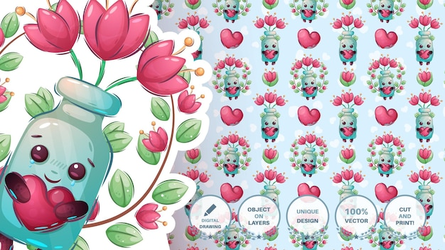 Bottiglia personaggio dei cartoni animati con fiore