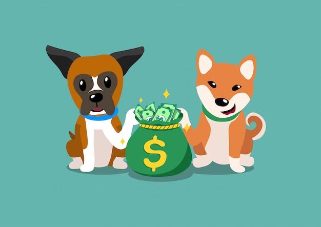 Pugile personaggio dei cartoni animati e shiba inu cani con sacco di soldi