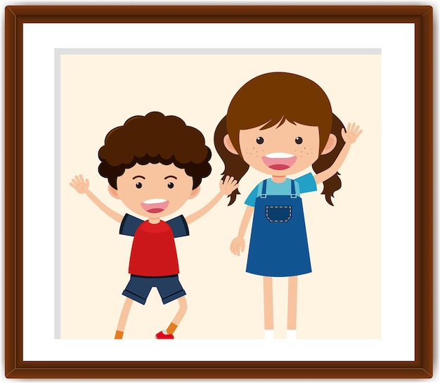 Personaggio dei cartoni animati di ragazzo e ragazza in una cornice per foto