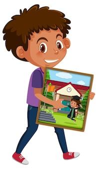 Personaggio dei cartoni animati di un ragazzo che tiene la sua foto di laurea