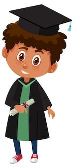 Personaggio dei cartoni animati di un ragazzo che indossa un costume da laurea