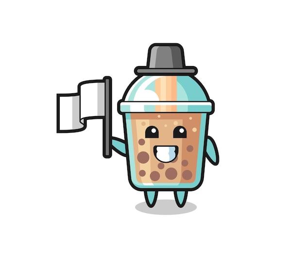 Personaggio dei cartoni animati di bubble tea che tiene una bandiera, design in stile carino per maglietta, adesivo, elemento logo