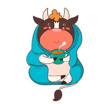 Toro del personaggio dei cartoni animati avvolto in un plaid che beve il tè