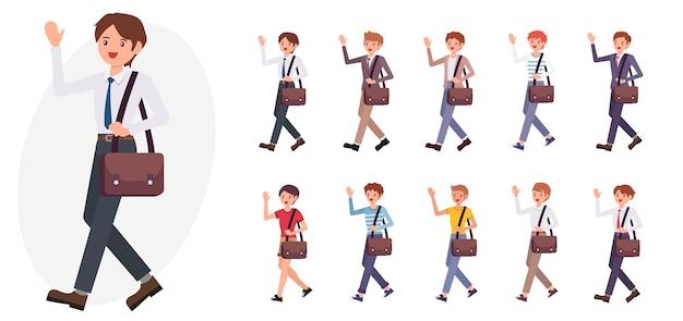 Personaggio dei cartoni animati business man mano d'onda saluto dire ciao raccolta