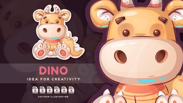 Dinosauro infantile del personaggio dei cartoni animati - adesivo carino. vettore eps 10