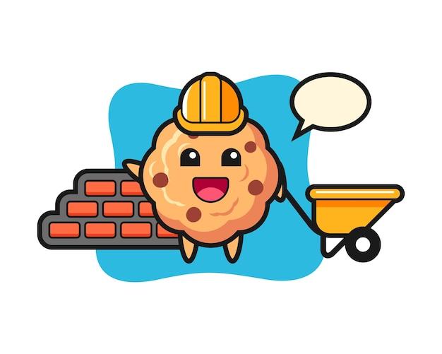 Personaggio dei cartoni animati di biscotto con gocce di cioccolato come costruttore