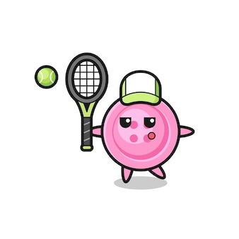 Personaggio dei cartoni animati del pulsante di abbigliamento come giocatore di tennis, design carino