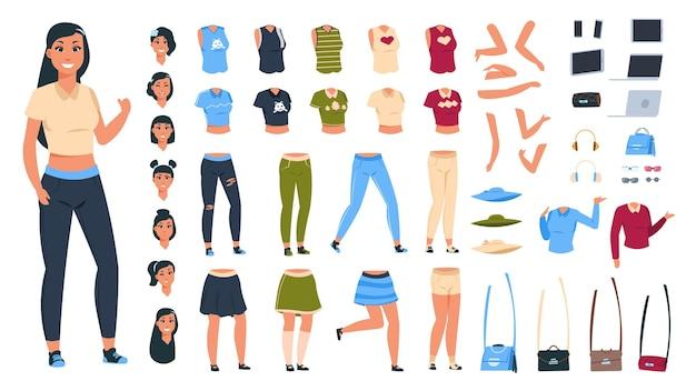 Costruttore di personaggi dei cartoni animati. animazione donna impostata con raccolta di parti del corpo e diversi vestiti e pose.