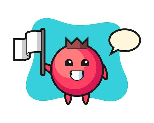 Personaggio dei cartoni animati di mirtillo rosso che tiene una bandiera, stile carino, adesivo, elemento del logo