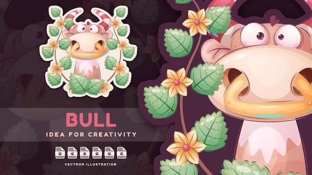 Personaggio dei cartoni animati simpatico animale toro