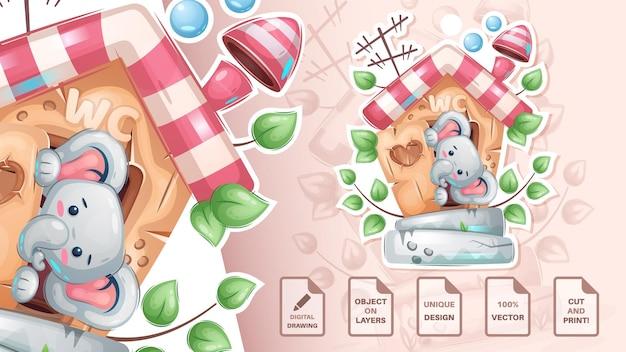 Personaggio dei cartoni animati simpatico elefante animale nella toilette