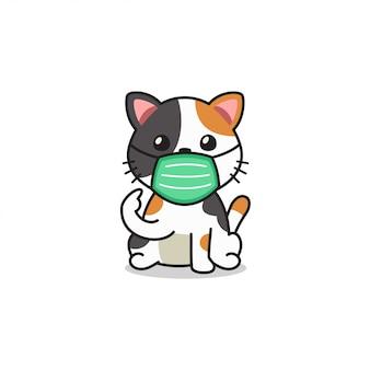 Gatto sveglio del personaggio dei cartoni animati che indossa la maschera di protezione