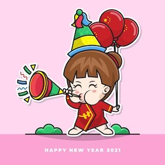 Personaggio dei cartoni animati del simpatico bambino cinese suona la tromba del nuovo anno e porta il palloncino della bandiera nazionale