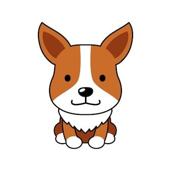 Cane corgi carino personaggio dei cartoni animati per il design.