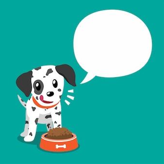 Personaggio dei cartoni animati cane dalmata e fumetto bianco