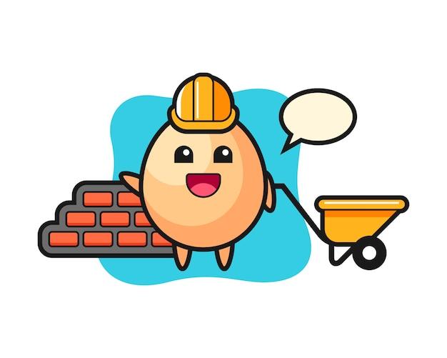 Personaggio dei cartoni animati di uovo come un costruttore, design in stile carino per t-shirt, adesivo, elemento logo Vettore Premium