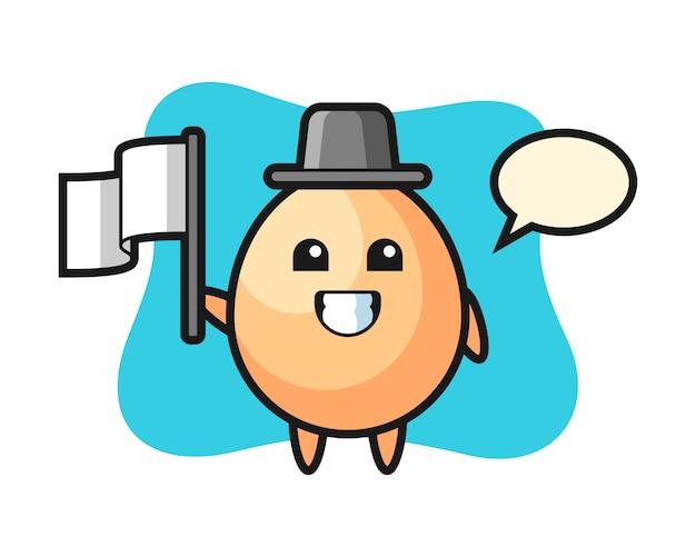 Personaggio dei cartoni animati dell'uovo che tiene una bandiera, stile carino per t-shirt, adesivo, elemento logo