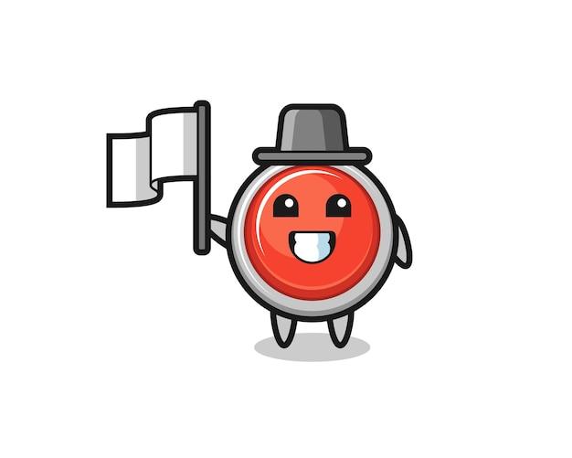 Personaggio dei cartoni animati del pulsante antipanico di emergenza che tiene una bandiera, design carino