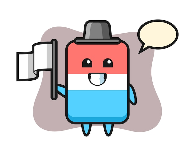 Personaggio dei cartoni animati di gomma che tiene una bandiera, stile carino, adesivo, elemento del logo