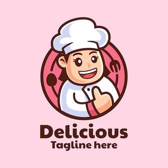 Personaggio dei cartoni animati chef femminile logo design