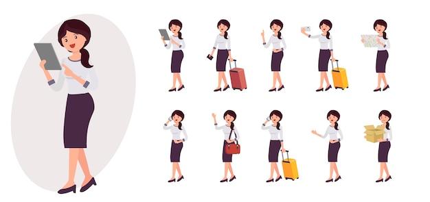 Collezione femminile personaggio dei cartoni animati in dieci diverse pose e gesti