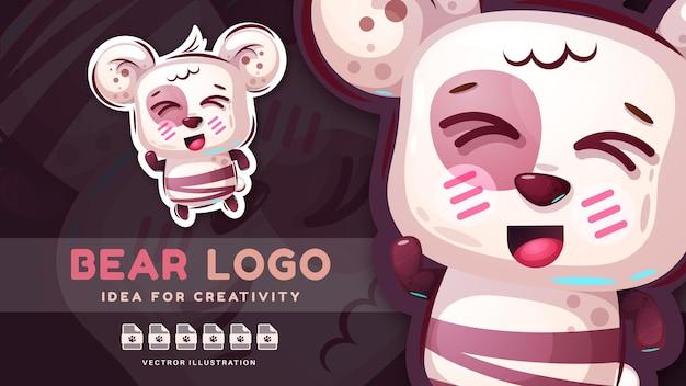Personaggio dei cartoni animati divertente animale orso danza simpatico adesivo vector eps 10