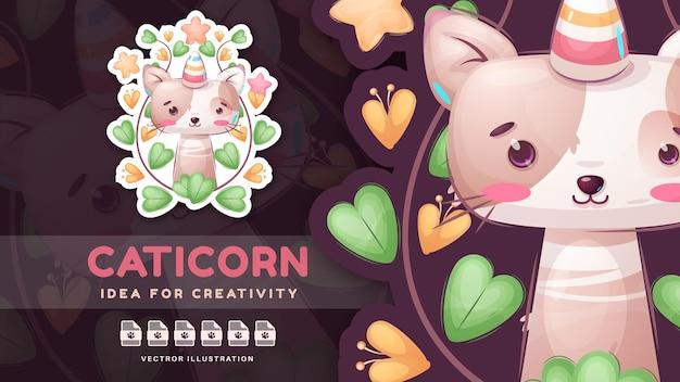 Personaggio dei cartoni animati divertente animale caticorn simpatico adesivo