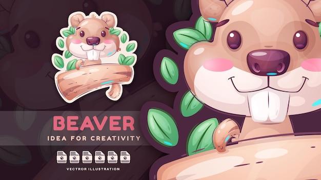 Personaggio dei cartoni animati divertente animale con log