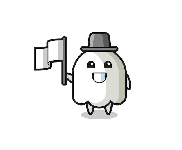 Personaggio dei cartoni animati del fantasma che tiene una bandiera, design in stile carino per maglietta, adesivo, elemento logo