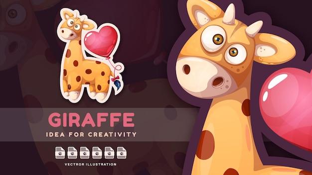 Giraffa personaggio dei cartoni animati con mongolfiera
