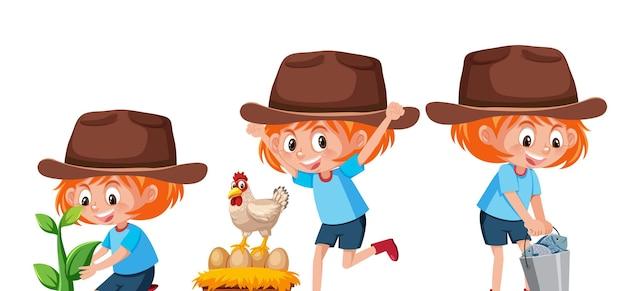 Personaggio dei cartoni animati di una ragazza che fa diverse attività