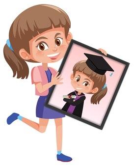 Personaggio dei cartoni animati di una ragazza che tiene la sua foto ritratto di laurea