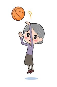 Personaggio dei cartoni animati nonna, basket