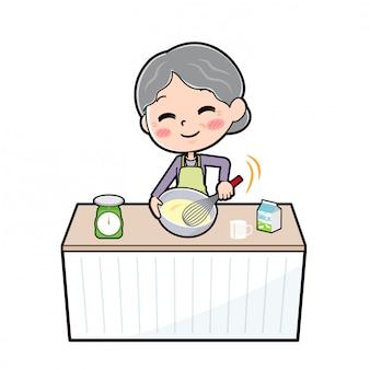 Personaggio dei cartoni animati nonna, cucinare mix di torta