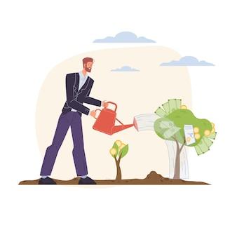 Personaggio dei cartoni animati cresce profitto e raccoglie reddito in denaro - concetto di investimento finanziario per il web online, sito