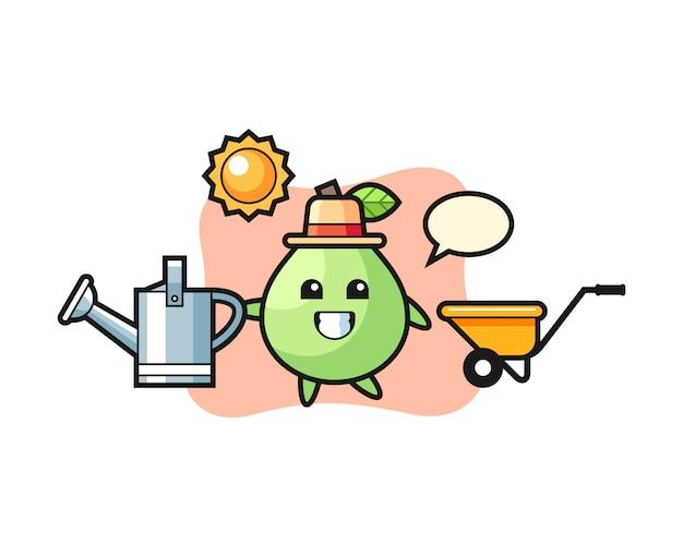 Personaggio dei cartoni animati di annaffiatoio che tiene guava, stile carino per t-shirt, adesivo, elemento logo