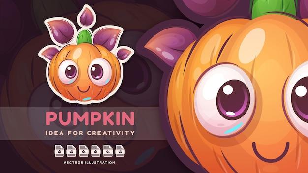 Zucca adorabile di halloween del personaggio dei cartoni animati. vettore eps 10