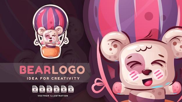 Orso animale felice del personaggio dei cartoni animati - adesivo carino. Vettore Premium