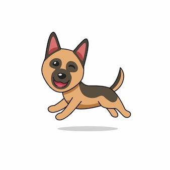 Personaggio dei cartoni animati felice cane pastore tedesco in esecuzione